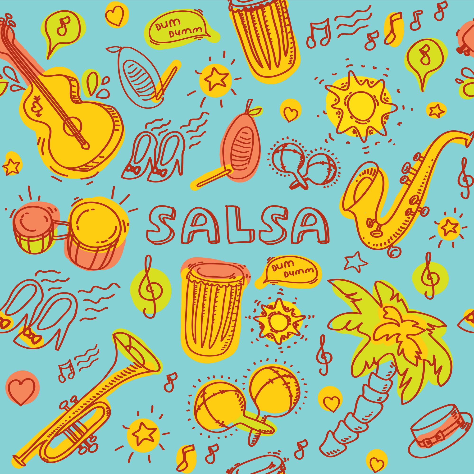 Salsa music and dance colored illustration with musical instruments with palms, etc. Vector modern and stylish design elements set